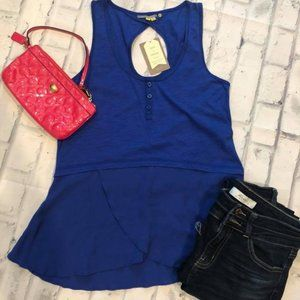 NWT Anthro Little Yellow Button Size XS blue top